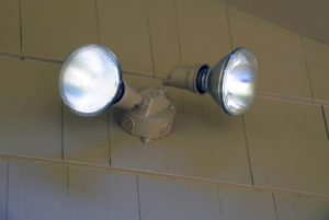Auto sensing security lights at a local garage